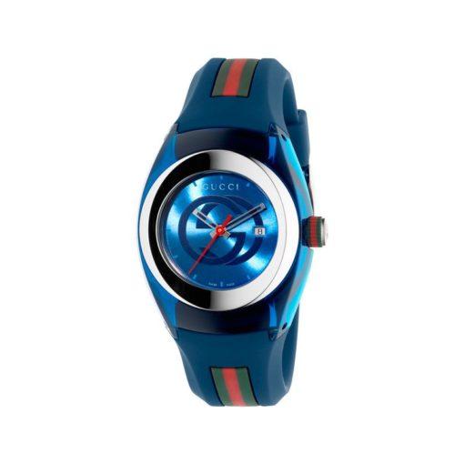 137 lg/ steel & blue nylon case / blue gg dial / blue rubber strap / green-red-green