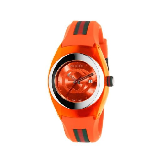 137 lg/ steel & orange nylon case / orange gg dial / orange rubber strap / green-red-green