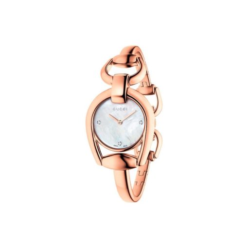 pink pvd case/mother of pearl with 3 diam dial/steel bangle