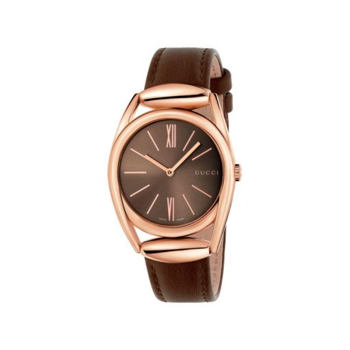 pink gold pvd case/dark brown sun-brushed dial/brown leather strap
