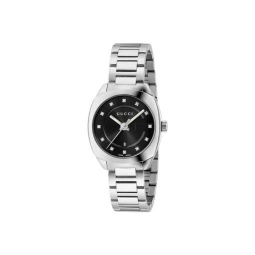 steel case/black sun-brushed dial with 12 diam/steel bracelet