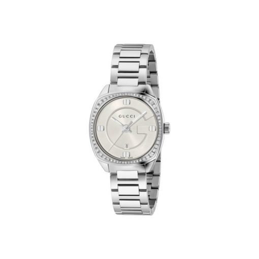 steel case/62 diamons bezel/silver indexes/white sun-brushed dial/steel bracelet