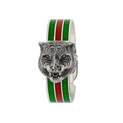 147 md / carved antique silver rotating feline head / white mother of pearl dial / carved silver bangle / green-red-green web enamel