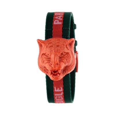 "146 md /silver dial /red plastic rotating feline head / black-red-black nylon strap / ""L'Aveugle par Amour"""
