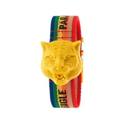 "146 md /silver dial /yellow plastic rotating feline head / rainbow nylon strap / ""L'Aveugle par Amour"""