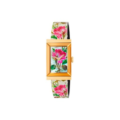 yellow gold PVD case / white mother of pearl dial with flowers print / white big flower print leather strap