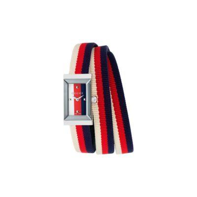 147 sm / steel case / cream-red-blue Sylvie web dial / cream-red-blue sylvie web triple loop nylon strap