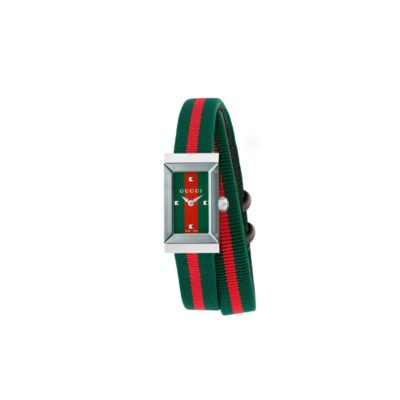 147 sm / steel case / green-red-green web dial / green-red-green web double loop nylon strap
