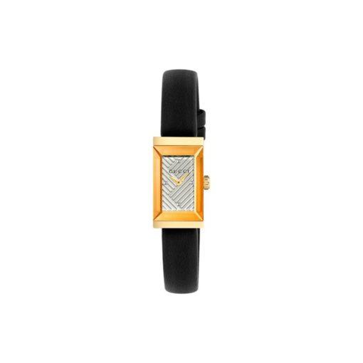 147 sm / light yellow gold pvd /  silver chevron pattern dial case / black leather strap