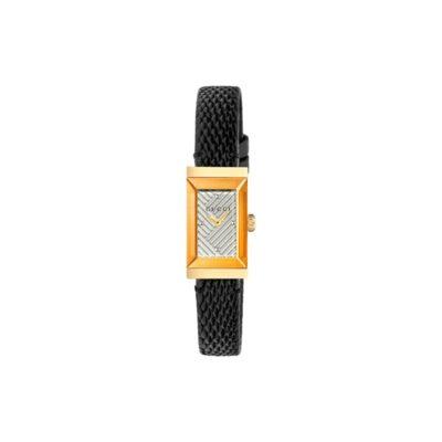 1417 sm / light yellow gold pvd case / silver chevron pattern dial / black lizard strap