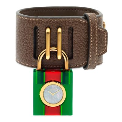 150 sm / green-red-green web Plexiglas case / white mother of pearl dial / brown leather strap / gloden bees