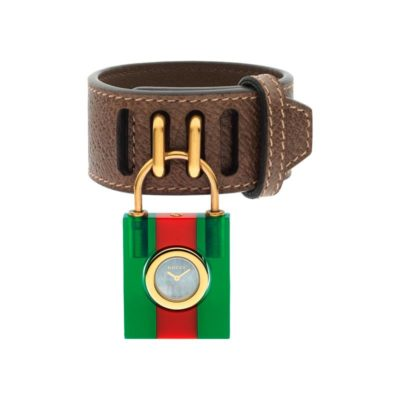150 sm / green-red-green web plexiglas case / white mother of pearl dial / brown leather strap