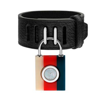 150 sm /cream-red-blue sylvie web Plexiglas case / white mother of pearl dial / black leather strap